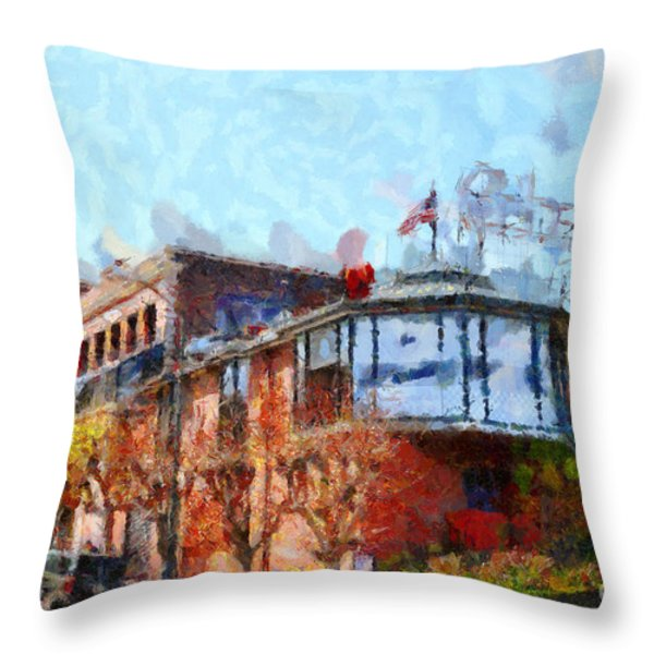Ghirardelli Chocolate Factory San Francisco California . Painterly . 7D14093 Throw Pillow by Wingsdomain Art and Photography