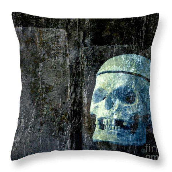 Ghost Skull Throw Pillow by Edward Fielding