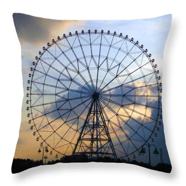 Giant Ferris Wheel At Sunset Throw Pillow by Paul Van Scott