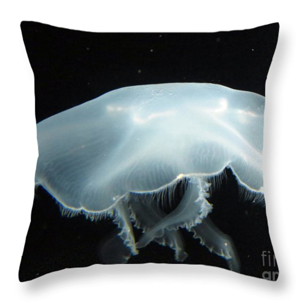 Giant White Jellyfish Throw Pillow by Darleen Stry