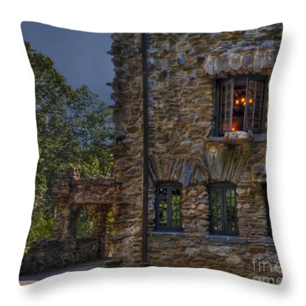 Gillette Castle exterior HDR Throw Pillow by Susan Candelario
