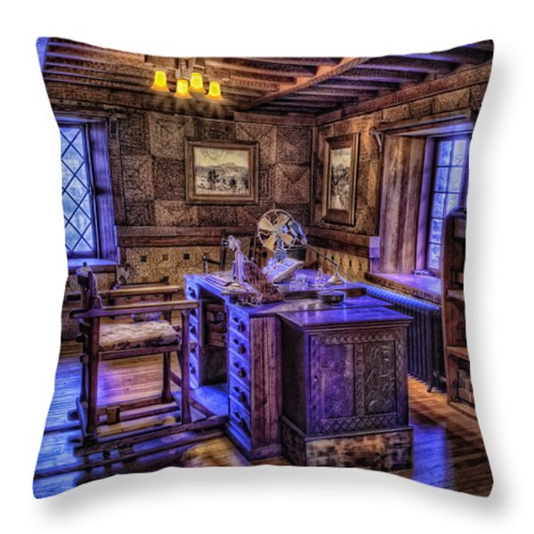 Gillette Castle Office Hdr Throw Pillow by Susan Candelario