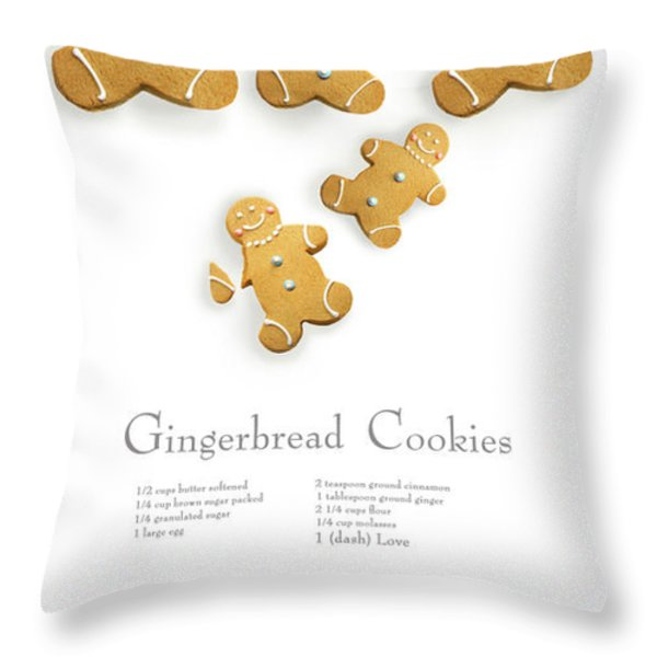 Gingerbread men cookies against cookie receipe Throw Pillow by Sandra Cunningham
