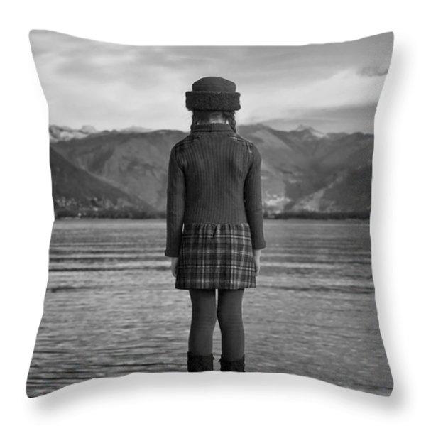 Girl At A Lake Throw Pillow by Joana Kruse