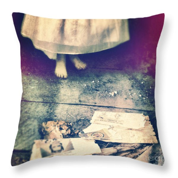 Girl in Abandoned Room Throw Pillow by Jill Battaglia