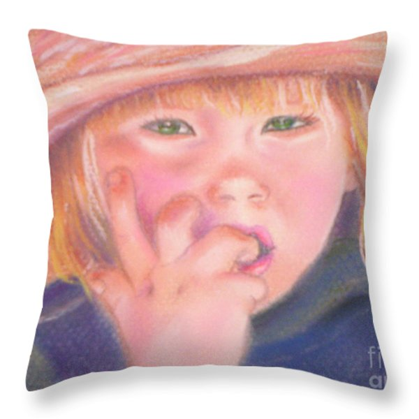 Girl In Straw Hat Throw Pillow by Julie Brugh Riffey