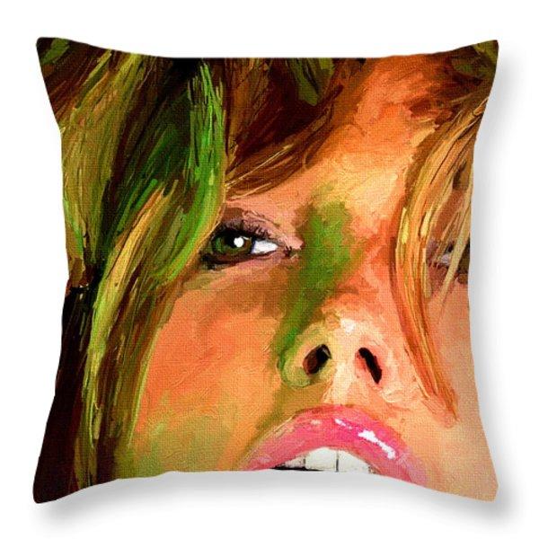 Girl Portrait 07 Throw Pillow by James Shepherd