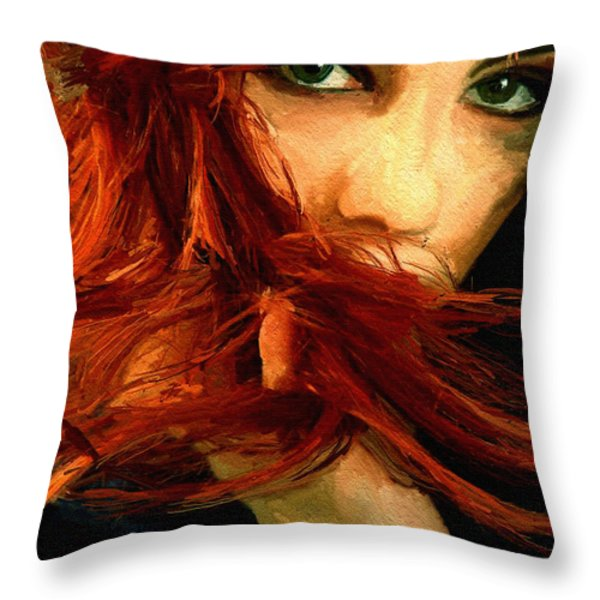 Girl Portrait 08 Throw Pillow by James Shepherd