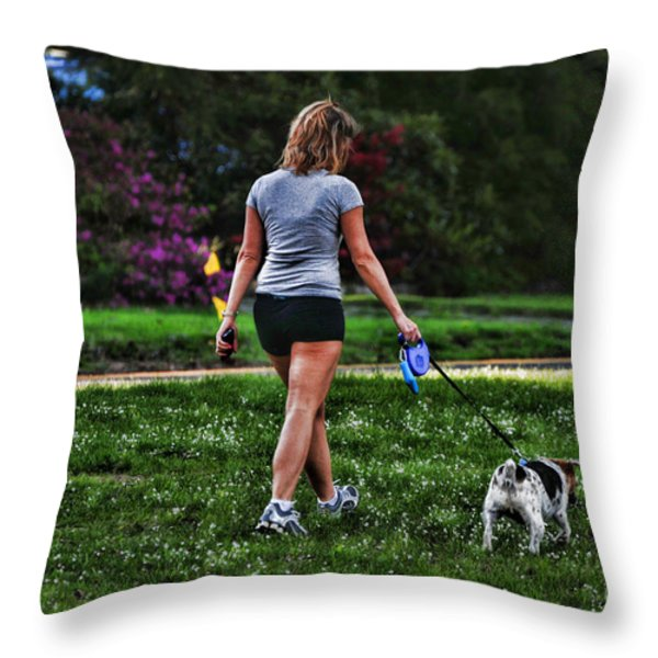 Girl walking dog Throw Pillow by Paul Ward