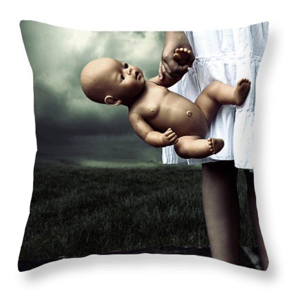 girl with a baby doll Throw Pillow by Joana Kruse
