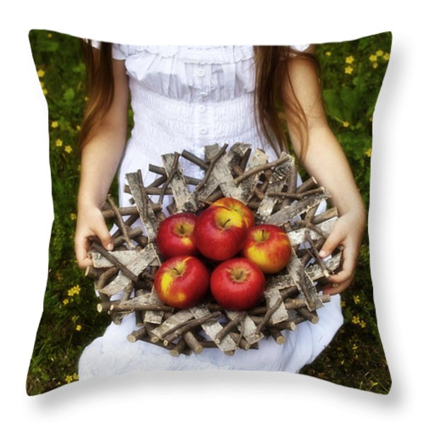 Girl With Apples Throw Pillow by Joana Kruse