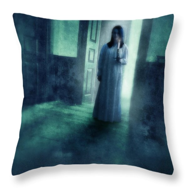 Girl with Candle in Doorway Throw Pillow by Jill Battaglia