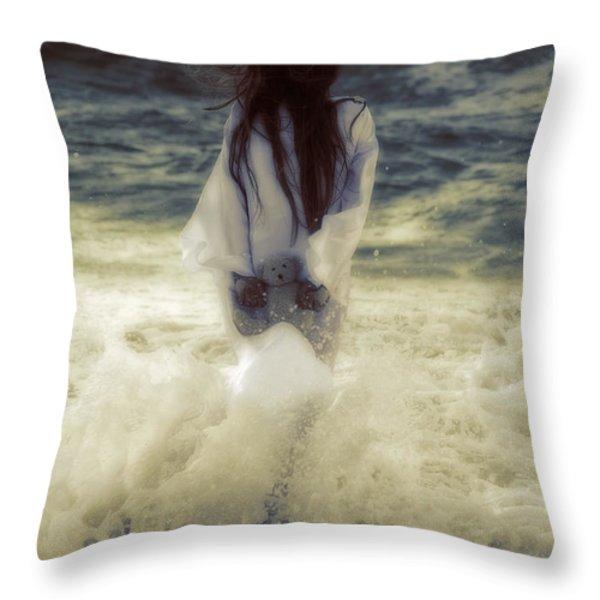 Girl With Teddy Throw Pillow by Joana Kruse