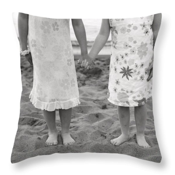 Girls Holding Hand On Beach Throw Pillow by Michelle Quance