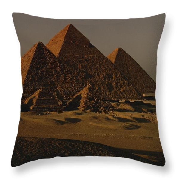 Giza Pyramids From Left Kings Menkure Throw Pillow by Kenneth Garrett