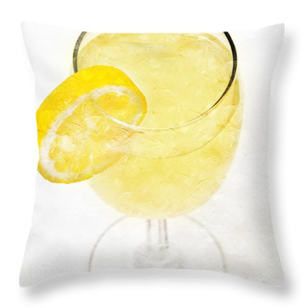 Glass of Lemonade Throw Pillow by Andee Design