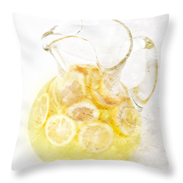 Glass Pitcher Of Lemonade Throw Pillow by Andee Design