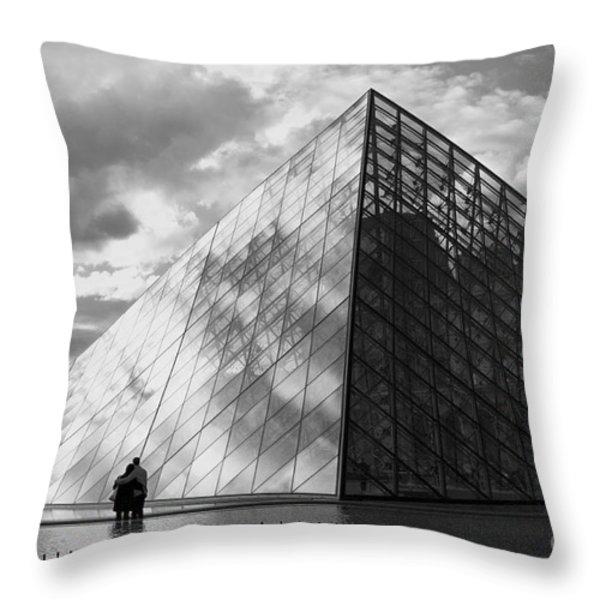 Glass Pyramid. Louvre. Paris.  Throw Pillow by Bernard Jaubert