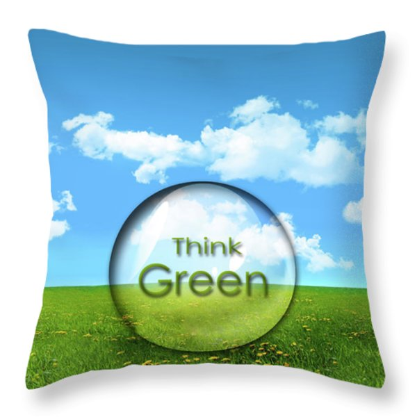 Glass sphere in a field of tall grass Throw Pillow by Sandra Cunningham