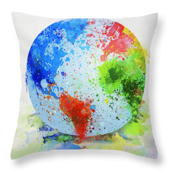 globe painting Throw Pillow by Setsiri Silapasuwanchai