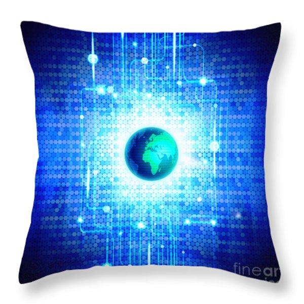 globe with technology background Throw Pillow by Setsiri Silapasuwanchai