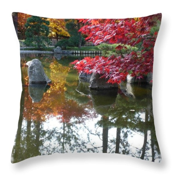 Glorious Fall Colors Reflection with Border Throw Pillow by Carol Groenen