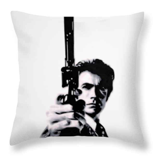 Go Ahead Punk Make My Day Throw Pillow by Luis Ludzska