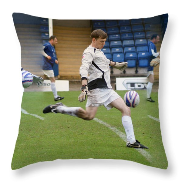 Goalkeeper Kicking Sequence Throw Pillow by David Birchall