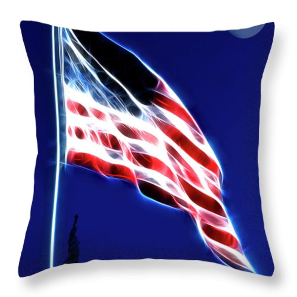 God Bless America Throw Pillow by Wingsdomain Art and Photography