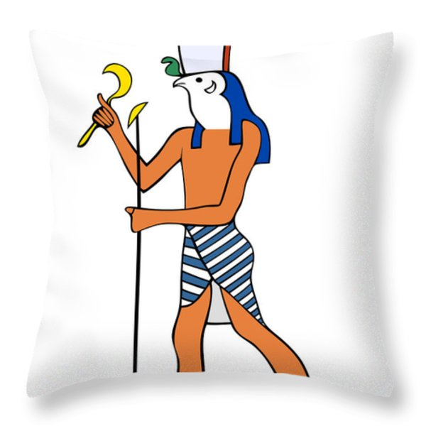 God of Ancient Egypt - Horus Throw Pillow by Michal Boubin