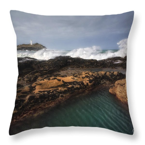Godrevy Lighthouse In Cornwall, England Throw Pillow by Arild Heitmann