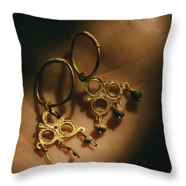 Gold Earrings Hung With Pearls Are Part Throw Pillow by Ira Block