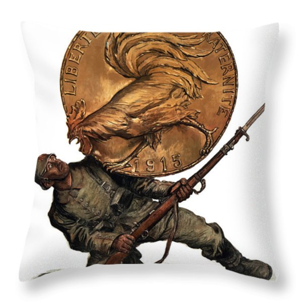 Gold Fights For Victory Throw Pillow by War Is Hell Store