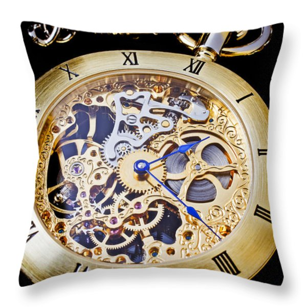 Gold Pocket Watch Throw Pillow by Garry Gay