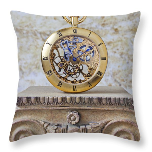 Gold Skeleton Pocket Watch Throw Pillow by Garry Gay