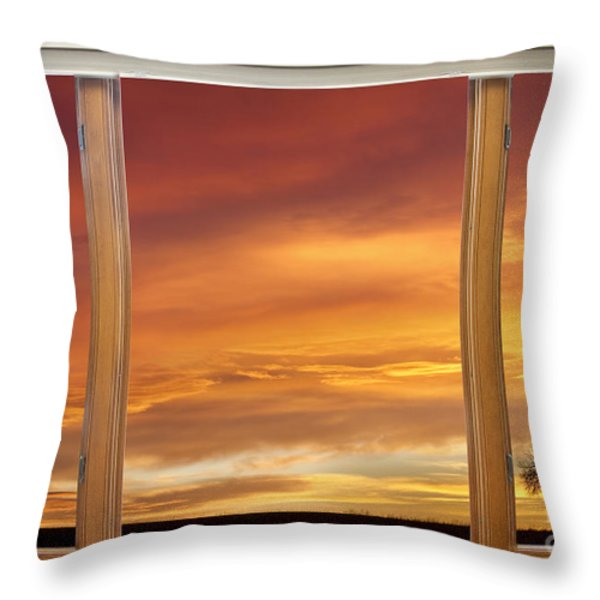 Golden Country Sunrise Window View Throw Pillow by James BO  Insogna