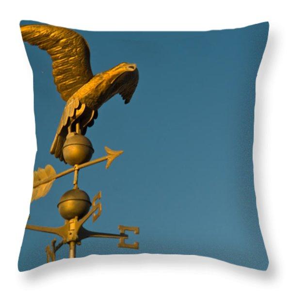 Golden Eagle Weather Vane Throw Pillow by Douglas Barnett