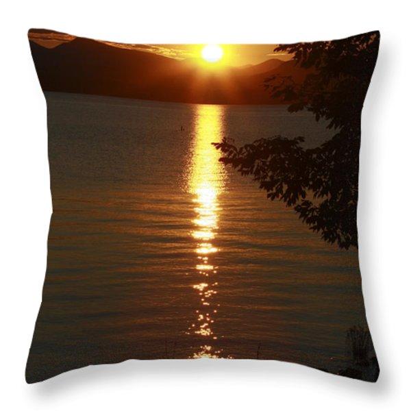 Golden Evening Sun Rays Throw Pillow by Deborah Benoit