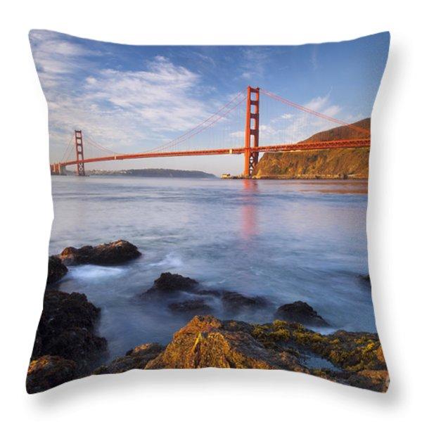 Golden Gate at dawn Throw Pillow by Brian Jannsen
