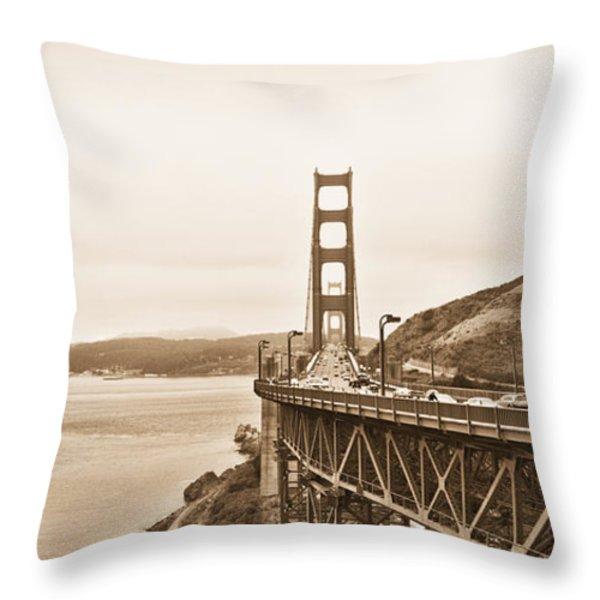 Golden Gate Bridge in Sepia Throw Pillow by Betty LaRue