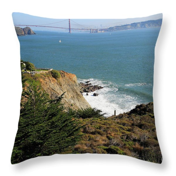 Golden Gate Bridge Viewed From The Marin Headlands Throw Pillow by Wingsdomain Art and Photography