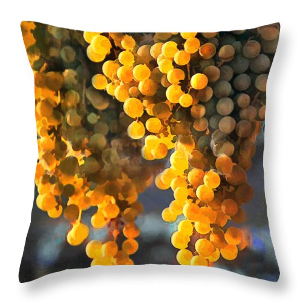 Golden Grapes Throw Pillow by Elaine Plesser