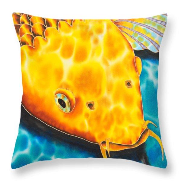 Golden Koi Throw Pillow by Daniel Jean-Baptiste