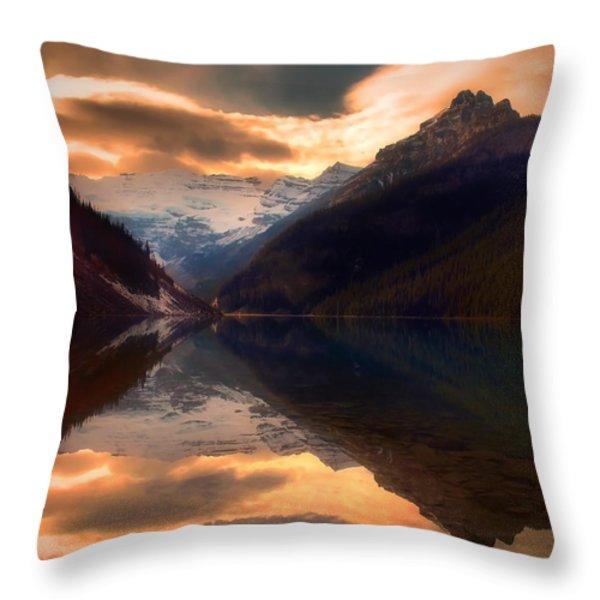 Golden Light On The Rockies Throw Pillow by Tara Turner