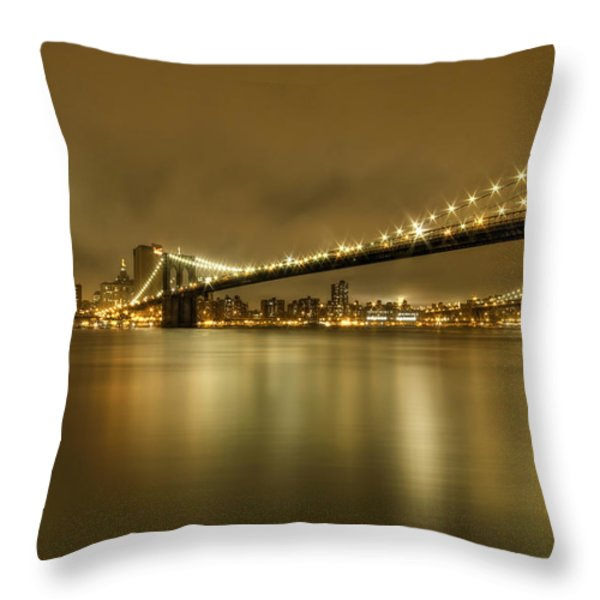 Golden Night Throw Pillow by Evelina Kremsdorf