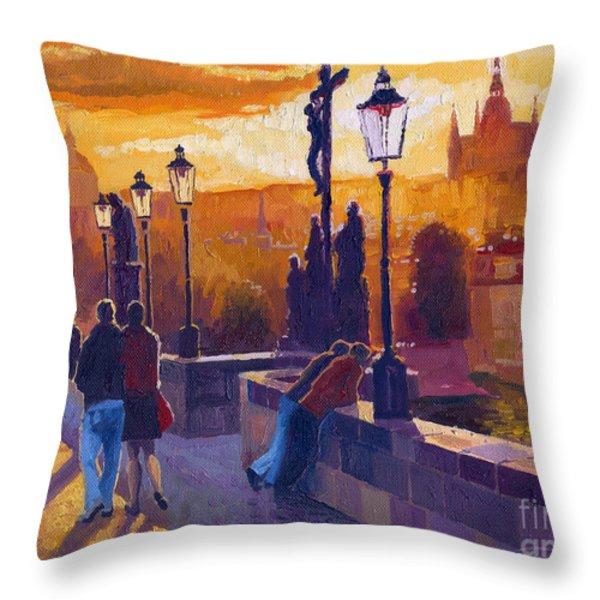 Golden Prague Charles Bridge Sunset Throw Pillow by Yuriy  Shevchuk
