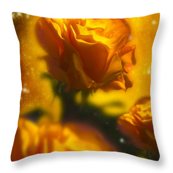 Golden Roses Throw Pillow by Svetlana Sewell