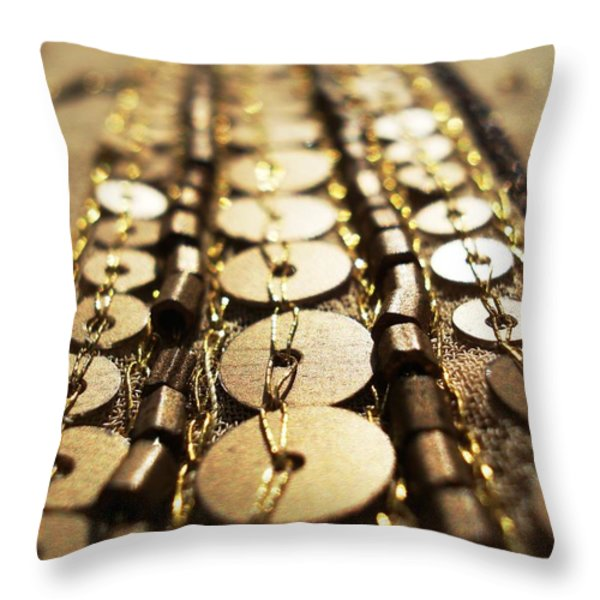 Golden Sequins Highway Throw Pillow by Sumit Mehndiratta