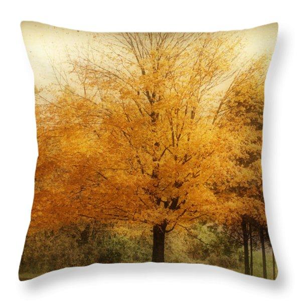 Golden Tree Throw Pillow by Sandy Keeton