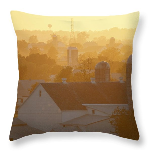 Golden Twilight Upon The Silos And Farm Throw Pillow by Michael S. Lewis
